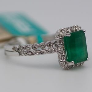 EFFY 14k White Gold Emerald & Diamond Wedding Set